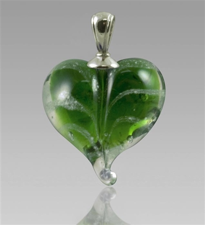 Green Heart Glass Cremation Pendant